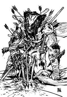 Nathan Fox guess its wolverine. Illustrators, Comic Art, Graphic Artist, Sketches, Nathan Fox, Drawings, Illustration Art, Art, Fox Art