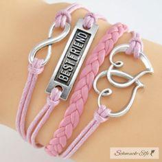 Armband BESTFRIEND & Herzchen rosa   im Organza Beutel