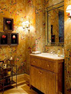 In the powder room, wallpaper from Brunschwig & Fils - Mario Buatta's Interior Designs.