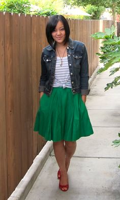 Putting Me Together: Love this green Banana Republic skirt, denim jacket, striped top or plain white top