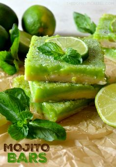 These MOJITO BARS are like classic lemon bars but with a lime & mint twist! A buttery shortbread crust topped with a fresh lime and rum-soaked mint curd, baked to perfection! Tastes JUST like a classic mojito, beach optional!