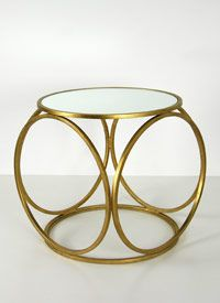 Greta Side Table - Iron with #gold leaf finish and mirrored top.