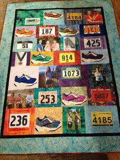 Race bibs, medals and pics on a blanket! Love!