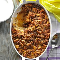 Raisin Bread & Sausage Morning Casserole Recipe -When we used to have Sunday breakfasts with my grandparents, my mom often made this for grandpa because he enjoyed it so much. Pork sausage and cinnamon bread taste surprisingly good together. —Carolyn Levan, Dixon, Illinois