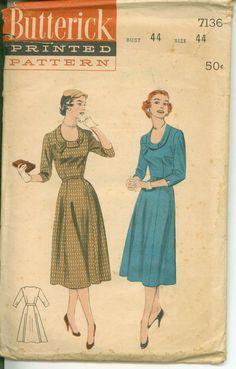 Vintage 1940's Pattern  Luncheon Dress with U by shellmakeyouflip, $14.50