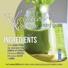 Relaxation Remedy Juicing Recipe! How many of you tried 1Hour Break in your recipes? #kava #spinach #broccoli #celery #lemon
