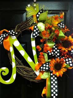 Fall Holiday Monogram Wreath a,b,c,d,e,f,g,h,i,j,k,l,m,n,o,p,q,r,s,t,u,v,w,x,y,z. $110.00, via Etsy.