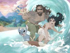 Disney x DC. Stitch and Moana surf with Aquaman Disney Animation, Disney Pixar, Disney Memes, Disney Fan Art, Disney And Dreamworks, Disney Cartoons, Disney Magic, Merida Disney, Punk Disney