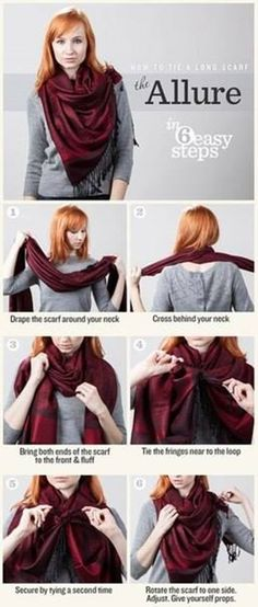 One way to tie an oblong scarf this look probably works for a large how to tie a long scarf link to different ways some new ones for me great pics with funny explanations solutioingenieria Image collections