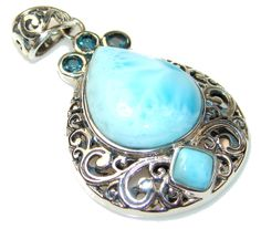 $66.25 AAA Quality Blue Larimar and Topaz Sterling Silver Pendant at www.SilverRushStyle.com #pendant #handmade #jewelry #silver #larimar