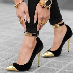 64aee58a8 Limited Supply Black and Gold Ankle Strap Heels Pointy Toe Stilettos Pumps  #elegantshoegirl #shoes #ankle #boots #flats #fashions #womens  #StilettoHeels