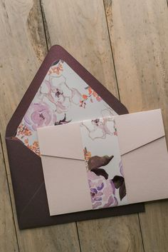 GRETCHEN Suite Floral Pocket Folder Package, blush, wine, burgundy, fancy wedding invitations, calligraphy font, wedding invitations with hearts, peony, pocket invitation, whimsical lettering