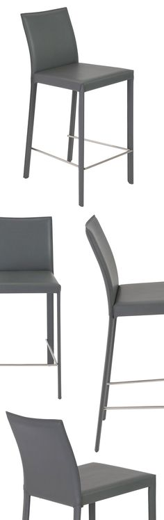 Every surface is leather. In black, gray or white, the legs, back and seat provide the special feel and lasting elegance of leather. The profile of this chair is particularly lovely the way the back curves back gently for added comfort.
