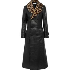 Saint Laurent Leopard-print shearling-trimmed leather coat (€410) ❤ liked on Polyvore featuring outerwear and coats