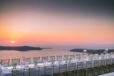 Wedding Reception Dinner @ La Maltese overlooking the most famous sunset in the world. Wedding In Santorini, Greece by Stella And Moscha Santorini Wedding, Greece Wedding, Sunset Wedding, Mod Wedding, Plan Your Wedding, Wedding Planning, Destination Wedding Invitations, Destination Weddings, Santorini Photographer