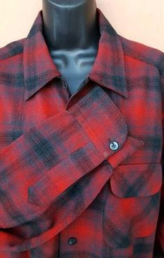 Men's vintage LS / long sleeve wool shirt by Pendleton in a classic plaid, size Large. Measurements: Chest 46, across bottom 46, Across upper back