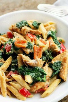 Cheesy Chicken and Pasta...The addition of lemon juice gives the sauce a very bright flavor while the pasta and chicken make it a hearty dinner.