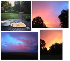 After the trip to Maine, I got to return to my home in New Jersey for a day. We had a relaxing glass of wine on the back patio before the sky turned dark and we had a crazy storm. Check out the incredible colors of the sky just before the rain started.