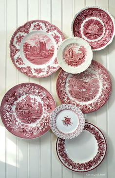 Transferware is probably at the top of my list when out treasure hunting. When I walk into a thrift shop, I always head to the plate aisle first. Yesterday I found an amazing group red transferware, the five larger plates above. Red Plates, Large Plates, Decorative Plates, Red And Pink, Red And White, Luau Party, Cup And Saucer, Tablescapes, Dinnerware