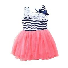Summer Toddler Girls Lace Ribbon Stripes Tutu Dress Puff Casual Dress 2-6Y