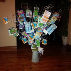 Lottery ticket tree #wateringcan #lotterytickets #gifts #diygifts #raffleprize #decorative #funwithribbon #teamtanya #nopinspirationjustimagination @fiona1818