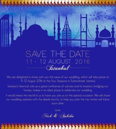 blue , save the date card