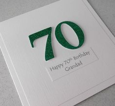 Handmade 70th birthday card personalized can by PaperDaisyCards2