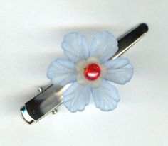 Flower Hair Pin Clip Handmade Hair Bauble Pale Blue by HairBobbies, $7.00