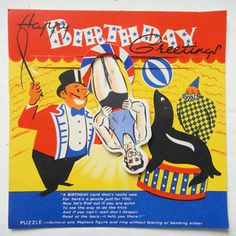 vintage birthday card circus paper toy