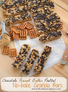 Chocolate peanut butter pretzel granola bars. The ultimate sweet and salty no-bake snack.