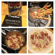 This is so amazing, easy and yummy! hotdogs and spaghetti strings
