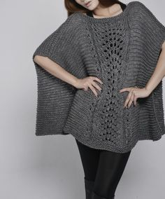 Woman sweater - hand knitted Poncho/ capelet in Charcoal - Marie Crochet Poncho, Cute Crochet, Crochet Top, Hand Knitting, Knitting Patterns, Crochet Patterns, Knit Vest Pattern, Ladies Poncho, Wool Thread