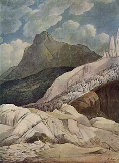 """Francis Towne, """"The Source of the Arveiron: Mont Blanc in the Background"""" 1781"""