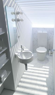 Small cloak room with Duravit Architec suite and built in storage
