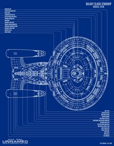 Blueprint schematic of U.S.S. Enterprise NCC-1701 D; Dorsal View