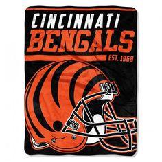 Cincinnati Bengals Blanket 46x60 Raschel 40 Yard Dash Design Rolled