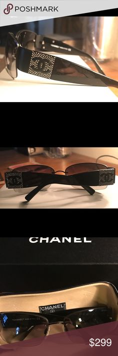 Excellent Authentic CHANEL sunglasses great style! Nice authentic Chanel sunglasses- size 62-16 - for a wider face. Nothing broken, they look great. Comes with CHANEL case and box. CHANEL Accessories Sunglasses