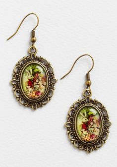 Cute Curiosities Earrings. A day at the library feels more whimsical when you slip in these antiqued gold earrings! #multi #modcloth