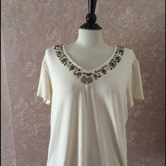 Chico's 3 Embellished Bead Top Beige Cream Tee V Neck Short Sleeve Womens 16 L #Chicos #TeeTop