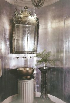 Mary McDonald dramatic silver leaf walls in a powder room -- delight by design: silver paper + mirrors on chains Home Design, Interior Design, Design Ideas, Silver Bathroom, Silver Wallpaper Bathroom, Gothic Bathroom, Bling Bathroom, Light Bathroom, Metallic Wallpaper