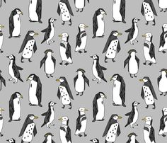 ©  Copyright  Andrea Lauren -  You are permitted to sell items you make with this fabric, but request you credit Andrea Lauren as the designer. Coordinates: Solids -- Warm, Solids - Cool, Dots  View other Puffins & Penguins fabrics here