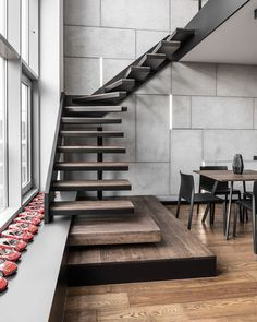 30 Marvelous And Creative Indoor Wood Stairs Design Ideas You Never Seen Before Men Apartment, Apartment Interior, Apartment Design, Apartment Ideas, Colorful Apartment, Couples Apartment, Apartment Layout, Wood Stairs, House Stairs