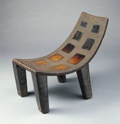 Africa | Ngombe, Poto, or Ngala people, DR of Congo | Stool | Wood, Brass | Late 19th–20th century | h. 43.0 cm., w. 53.8 cm., d. 27.7 cm. (16 15/16 x 21 3/16 x 10 7/8 in.)
