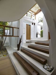 white and wood stairs