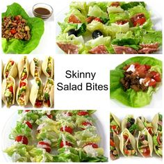 Think Outside the Salad Bowl with These Skinny Salad Bites! Shake things up a bit with these delectable, simple, unsalad, salad recipes! They all make great appetizers, first course or main course meals. http://www.skinnykitchen.com/recipes/think-outside-the-salad-bowl-with-these-skinny-salad-bites/