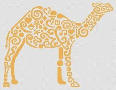 White Willow Stitching Tribal Camel - Cross Stitch Pattern. Based on the artwork of Jamie Larson. Models stitched on 14 count White Aida with DMC floss or dark