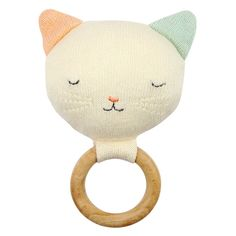 Meri Meri beautiful knitted Cat Rattle, with Next Day Delivery This cute kitty rattle toy makes the perfect gift for a baby with its colourful ears and embroidered stitching details. The rattle is crafted in organic cotton with a natural wood ring. Baby Kind, Baby Love, Little Babies, Little Ones, Site Bebe, Knitted Cat, Little Unicorn, Baby Teethers, Baby Rattle