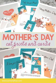 """Print these cute cat prints out and mom can have some """"fine art"""" to hang on her walls for Mother's Day. There are matching cards that are super easy to use. Print and cut them and then fold. Now add a sweet note to the inside and there you have it. Happy Mothers Day Mom, Mothers Day Crafts, Diy Projects For Kids, Diy For Kids, Fun Printables For Kids, Creative Homemade Gifts, Easy Diy Christmas Gifts, Diy Gifts For Friends, Matching Cards"""