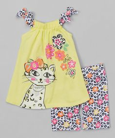 Look what I found on #zulily! Yellow Floral Leopard Tank & Shorts - Toddler #zulilyfinds