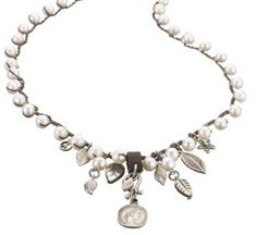 """Leaf & Coin"" Charm Necklace 